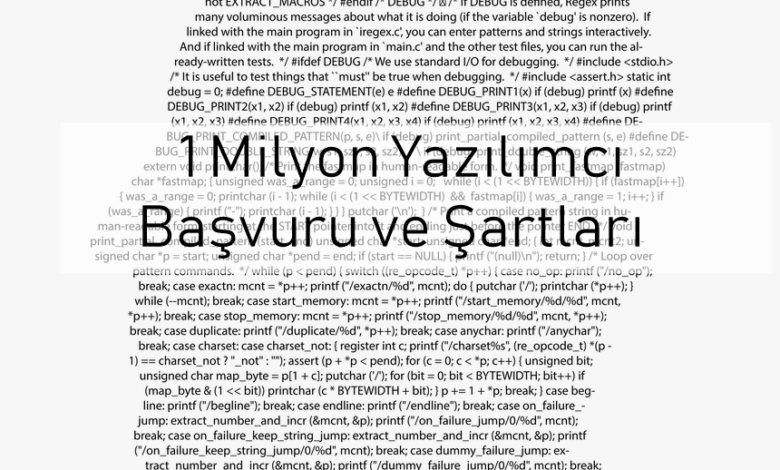 1 milyon yazılımcı başvuru ve şartları